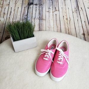 EUC Pink Lace Up Canvas Sneakers